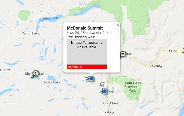 Webcam on BC Hwy 24 goes down after someone shot at it with