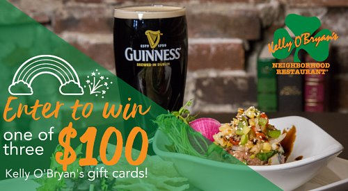 CONTEST CLOSED! Enter for the chance to win one of three $100 Kelly O'Bryan's gift cards!