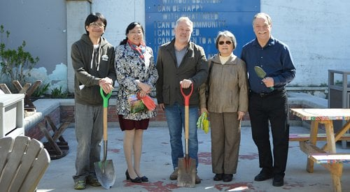 Arrowleaf balsamroot seeds planted to mark start of mural dedicated to Kelowna's early Chinese settlers